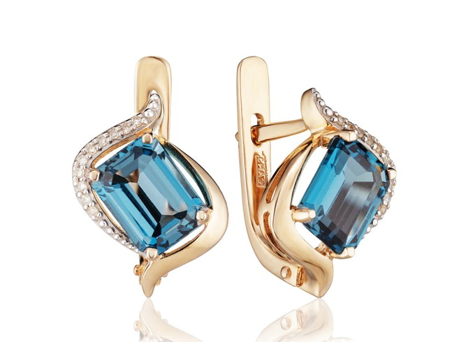 Лондон топаз - серьги из золота с бриллиантами