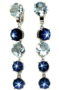 Серебрянные длинные серьги с синим звездным яхонтом и топазом