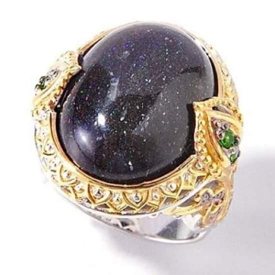 Кольцо с черный опалом