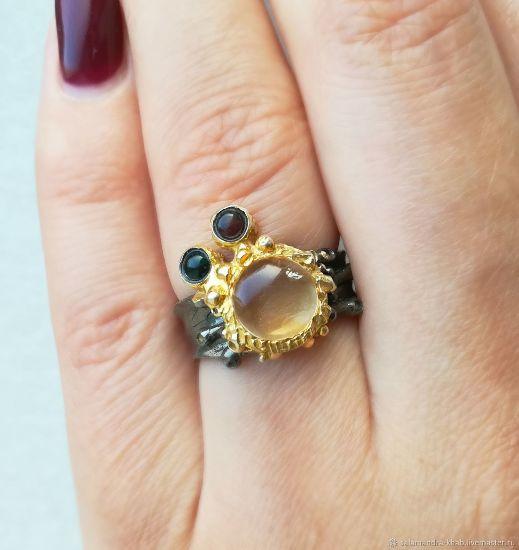 Кольцо с цитрином и турмалином
