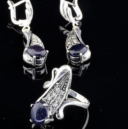 Комплект серьги и кольцо с синим авантюрином