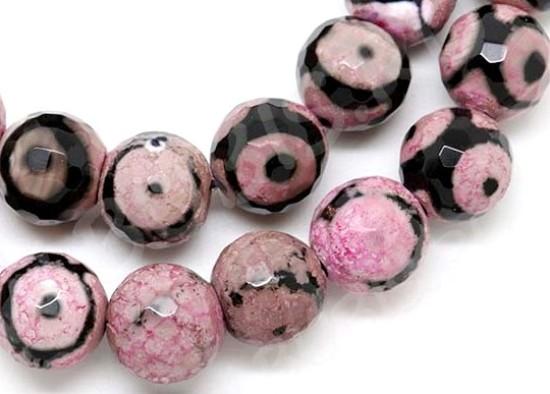 Глазковый розово-чёрный агат