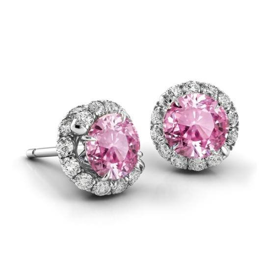 Серьги с розовым сапфиром и бриллиантами