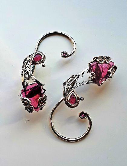 Серьги с розовым турмалином и рубином