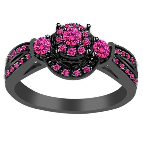 Обручальное кольцо с розовым сапфиром