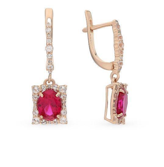 Золотые серьги с бриллиантом и розовым топазом