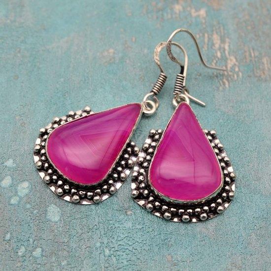 Серьги из серебра и ярко розового агата
