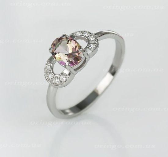 Кольцо с топазом цвета Misty Rose