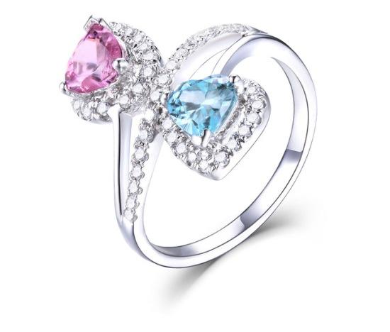 Кольцо с голубым топазом и розовым сапфиром
