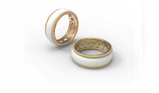 Золотое кольцо с белым нефритом