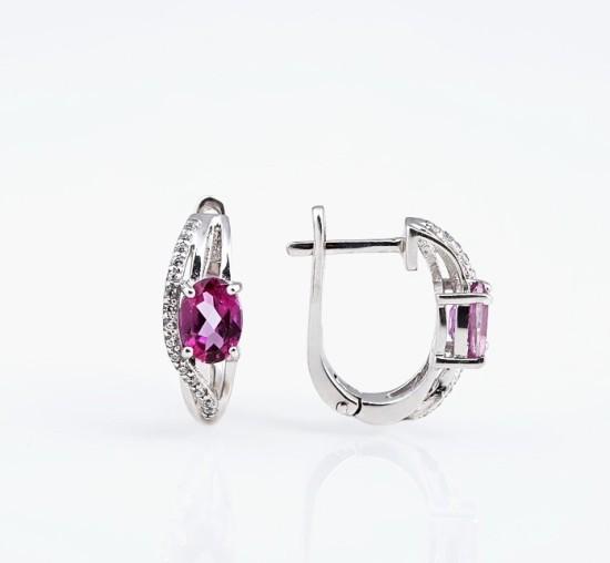 Серебряные серьги с розовым топазом и фианитами