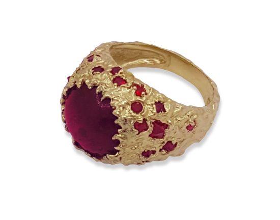 Золотое кольцо рубин и шпинель