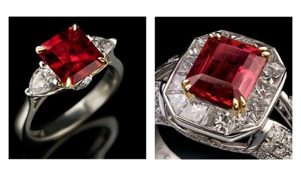 Кольцо с красным бериллом