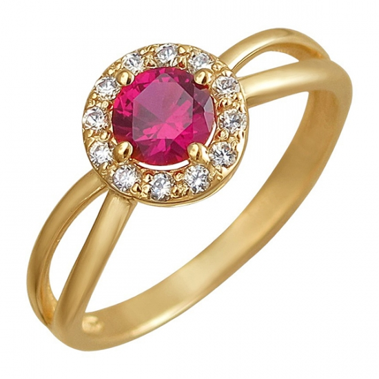 Кольцо со светлым рубином