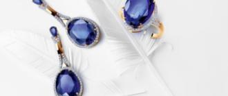 Серьги и кольцо с сапфиром