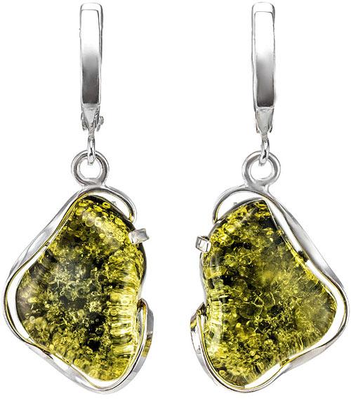 Серьги с зеленым янтарем с серебром