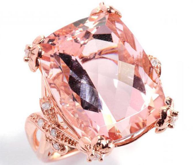 кольцо с камнем морганит