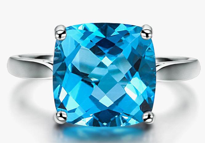 Кольцо с топазом Swiss Blue