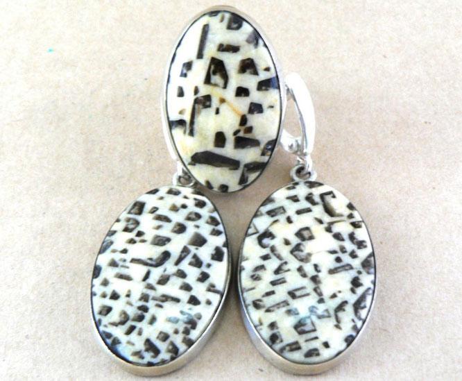 Серьги и кольцо с пегматитом