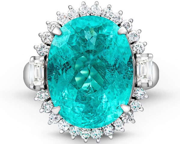 кольцо с турмалином параиба