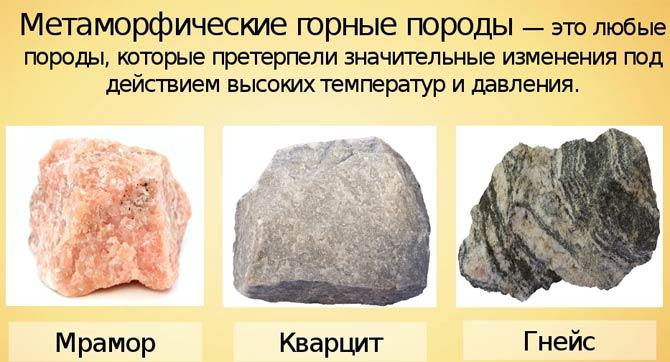 метаморфические горные породы примеры