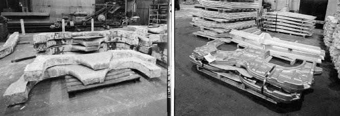 Заготовка титанового шпангоута истребителя F-15 до и после прессования на штамповочном прессе компании Alcoa усилием 45 тыс. тонн, май 1985
